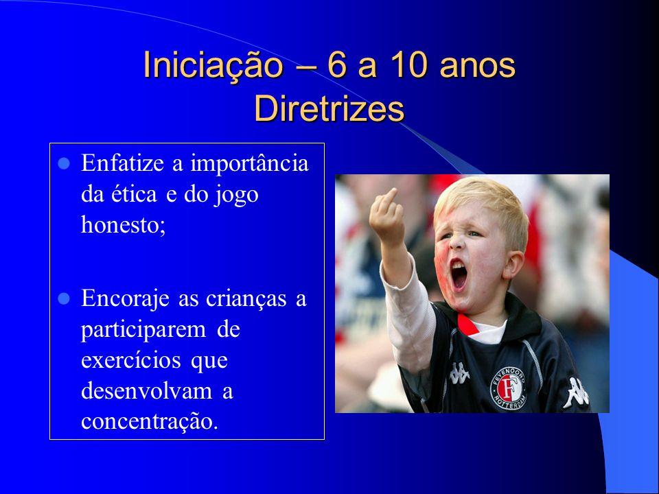 Iniciação – 6 a 10 anos Diretrizes Enfatize a importância da ética e do jogo honesto; Encoraje as crianças a participarem de exercícios que desenvolva