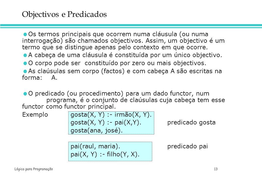 Lógica para Programação 13 Os termos principais que ocorrem numa cláusula (ou numa interrogação) são chamados objectivos. Assim, um objectivo é um ter