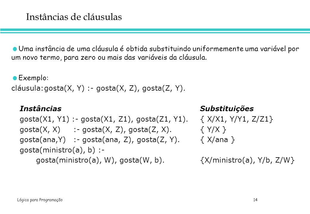 Lógica para Programação 14 Instâncias de cláusulas Uma instância de uma cláusula é obtida substituindo uniformemente uma variável por um novo termo, p