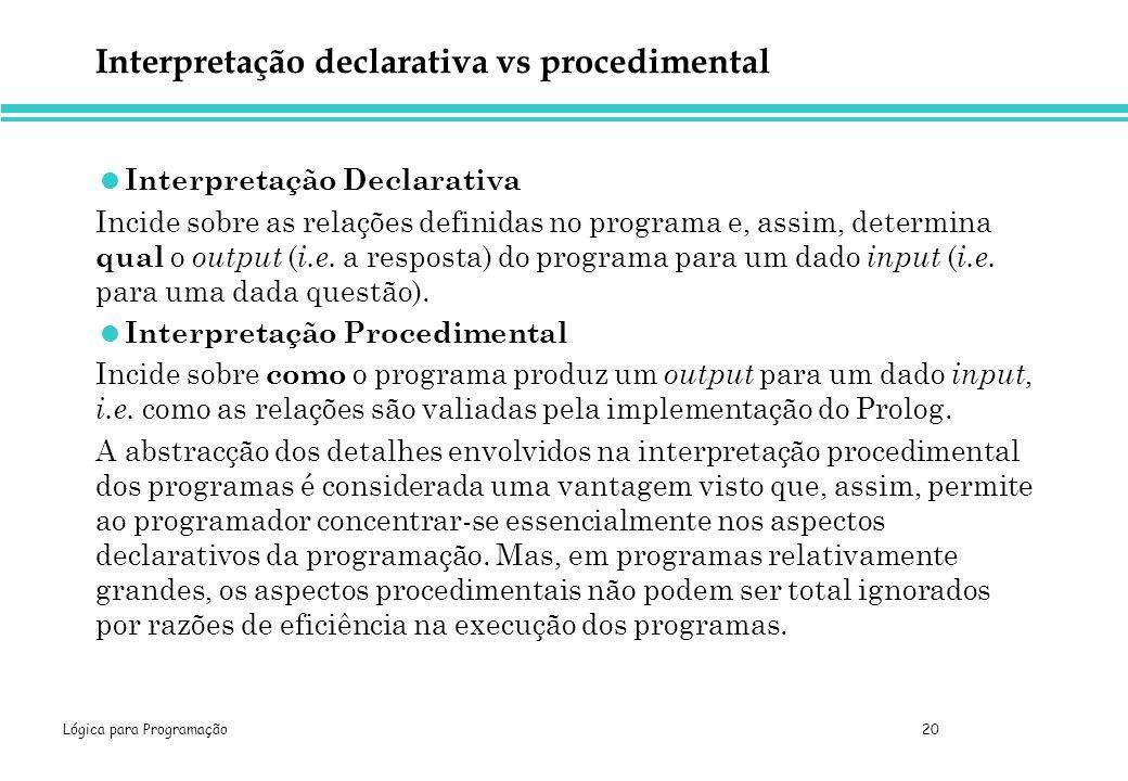 Lógica para Programação 20 Interpretação declarativa vs procedimental Interpretação Declarativa Incide sobre as relações definidas no programa e, assi
