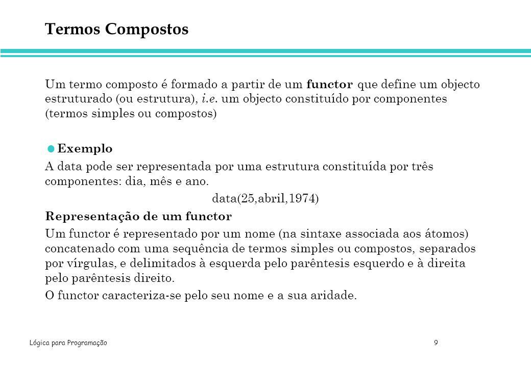Lógica para Programação 10 Termos Compostos Exemplo functor argumento maior( sucessor( N ), N ) termo composto termo simples functor principal 1º argumento 2º argumento termo composto Nota Podemos associar o mesmo nome a functores diferentes (a aridade distingue um functor) como, por exemplo, no caso de ponto (X,Y) e ponto (X,Y,Z).