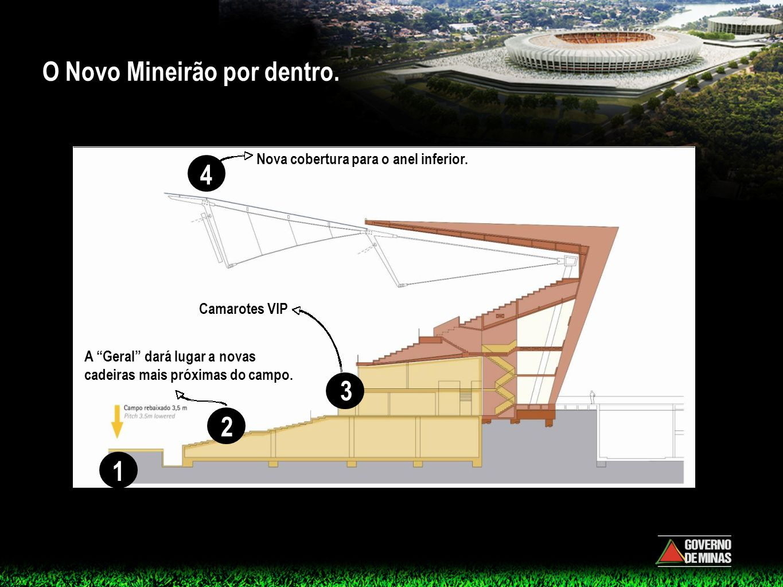 O Novo Mineirão por dentro. A Geral dará lugar a novas cadeiras mais próximas do campo. Camarotes VIP Nova cobertura para o anel inferior. O gramado s
