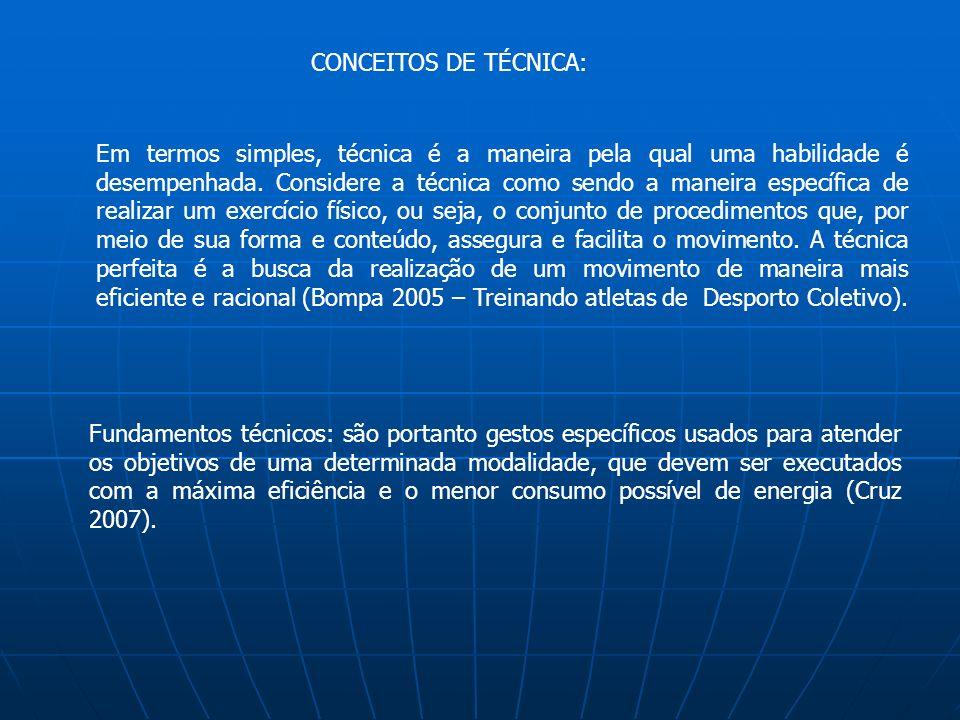 CONCEITOS DE TÉCNICA: Em termos simples, técnica é a maneira pela qual uma habilidade é desempenhada. Considere a técnica como sendo a maneira específ