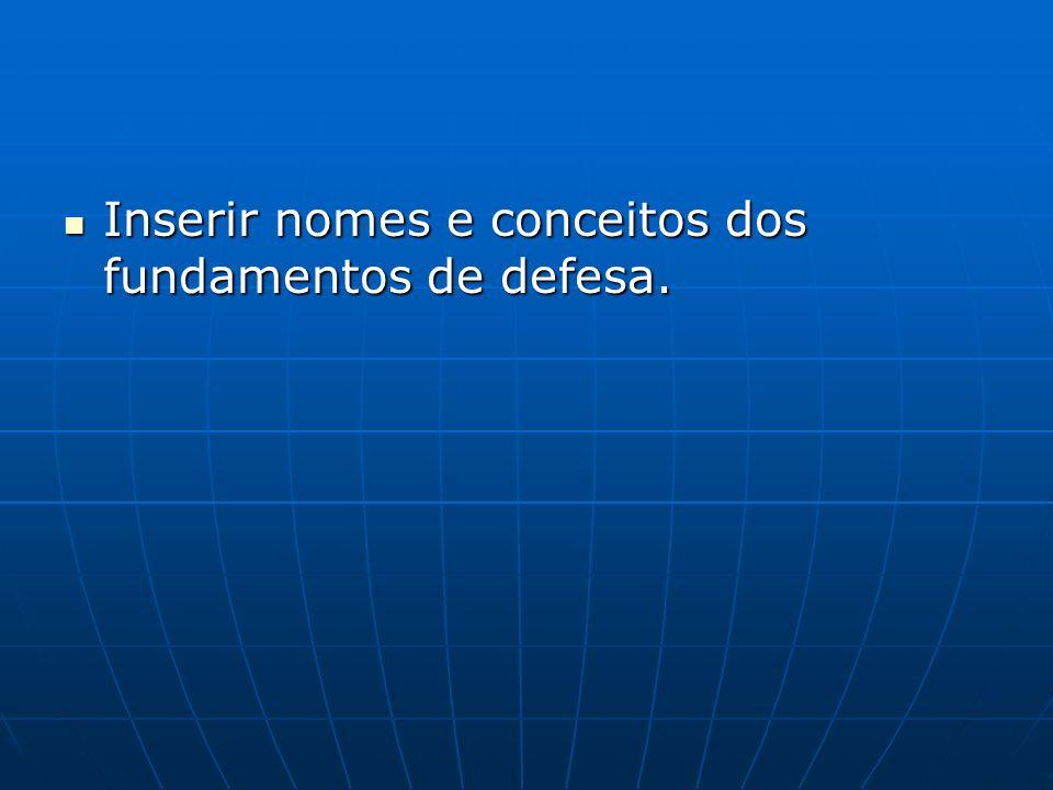 Inserir nomes e conceitos dos fundamentos de defesa. Inserir nomes e conceitos dos fundamentos de defesa.