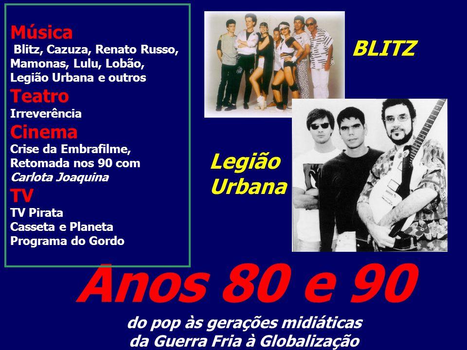 Anos 80 e 90 do pop às gerações midiáticas da Guerra Fria à Globalização Música Blitz, Cazuza, Renato Russo, Mamonas, Lulu, Lobão, Legião Urbana e out