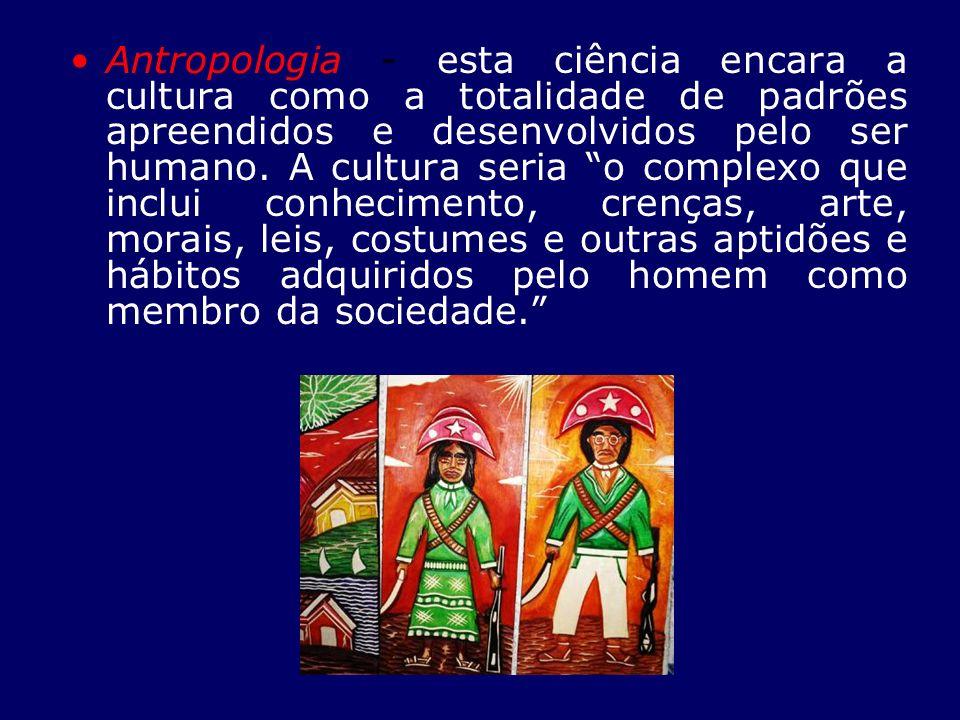 Antropologia - esta ciência encara a cultura como a totalidade de padrões apreendidos e desenvolvidos pelo ser humano. A cultura seria o complexo que