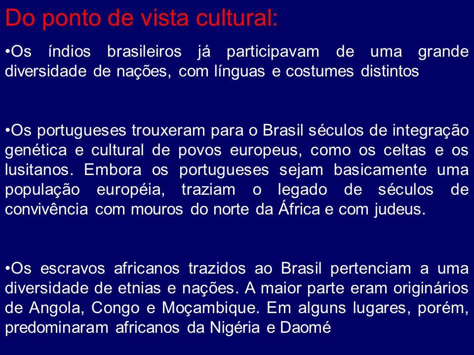 Do ponto de vista cultural: Os índios brasileiros já participavam de uma grande diversidade de nações, com línguas e costumes distintos Os portugueses