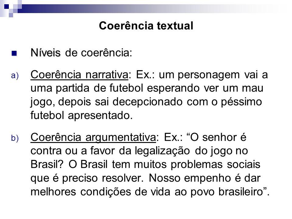 Coerência textual Níveis Níveis de coerência: a) Coerência narrativa: Ex.: um personagem vai a uma partida de futebol esperando ver um mau jogo, depoi