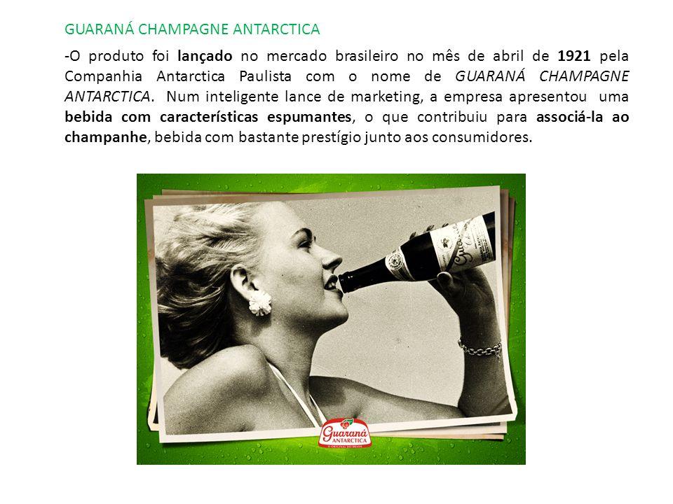 CAÇULINHA GUARANÁ ANTARCTICA A famosa versão Caçulinha do GUARANÁ ANTARCTICA foi lançada em 1949, em garrafinha de vidro de 185 mililitros, embalagem até então inédita no Brasil.