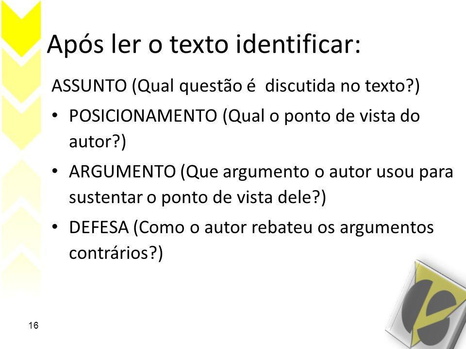 Após ler o texto identificar: ASSUNTO (Qual questão é discutida no texto?) POSICIONAMENTO (Qual o ponto de vista do autor?) ARGUMENTO (Que argumento o