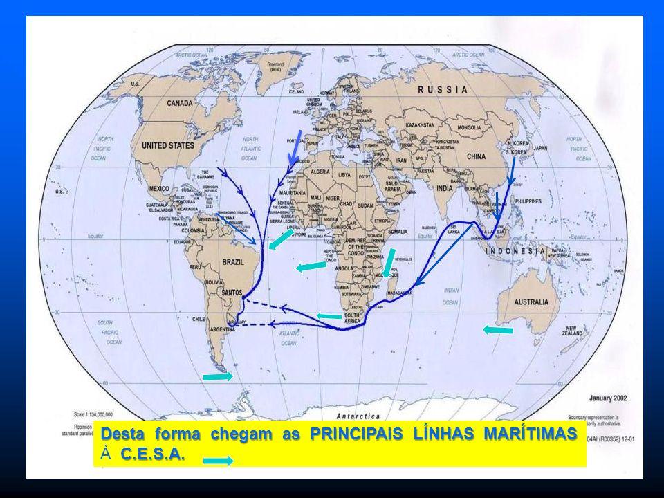 INDICA QUE HAY POCO TRAFICO Desta forma chegam as PRINCIPAiS LÍNHAS MARÍTIMAS C.E.S.A.