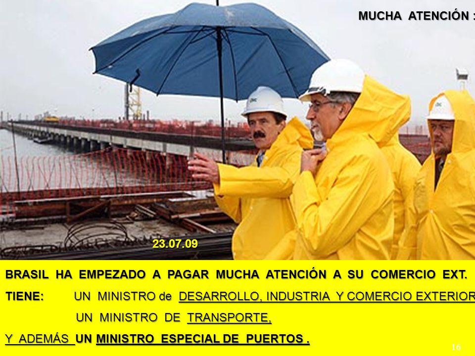 BRASIL HA EMPEZADO A PAGAR MUCHA ATENCIÓN A SU COMERCIO EXT. TIENE: UN MINISTRO de DESARROLLO, INDUSTRIA Y COMERCIO EXTERIOR, UN MINISTRO DE TRANSPORT