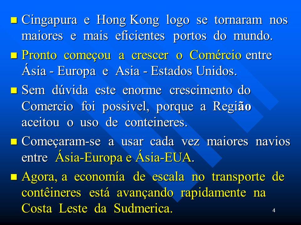 Cingapura e Hong Kong logo se tornaram nos maiores e mais eficientes portos do mundo.