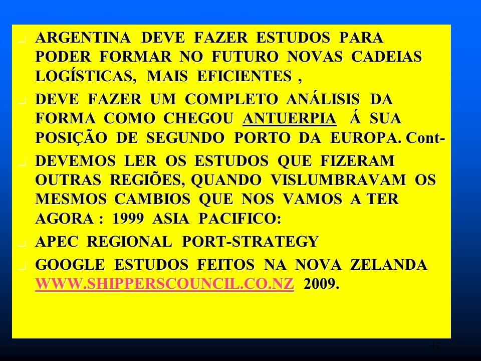 ARGENTINA DEVE FAZER ESTUDOS PARA PODER FORMAR NO FUTURO NOVAS CADEIAS LOGÍSTICAS, MAIS EFICIENTES, ARGENTINA DEVE FAZER ESTUDOS PARA PODER FORMAR NO FUTURO NOVAS CADEIAS LOGÍSTICAS, MAIS EFICIENTES, DEVE FAZER UM COMPLETO ANÁLISIS DA FORMA COMO CHEGOU ANTUERPIA Á SUA POSIÇÃO DE SEGUNDO PORTO DA EUROPA.