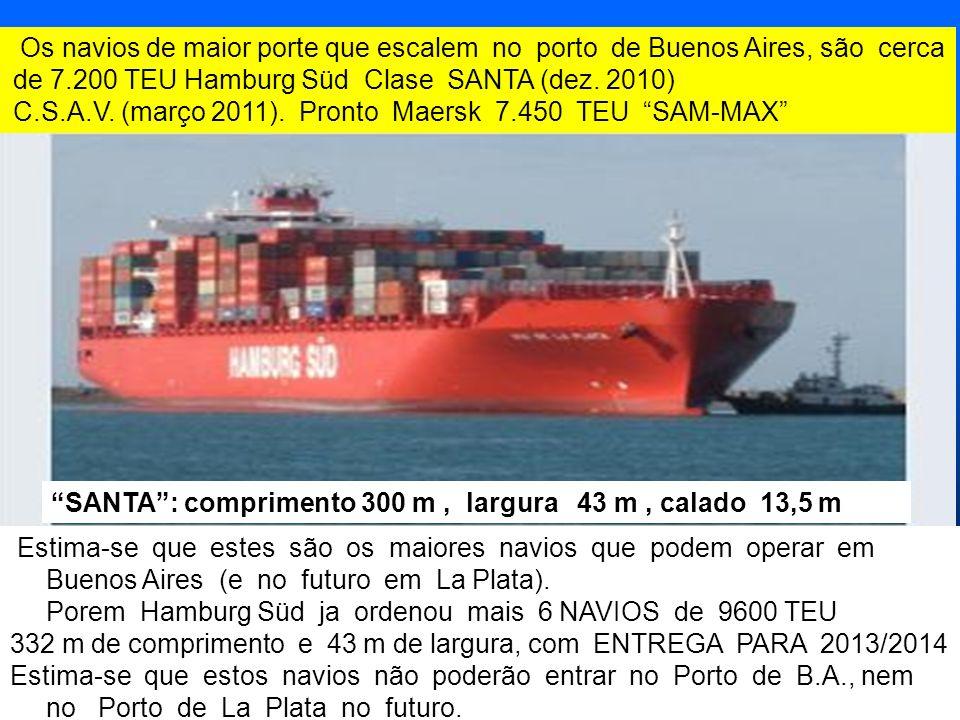 7 7 Estima-se que estes são os maiores navios que podem operar em Buenos Aires (e no futuro em La Plata). Porem Hamburg Süd ja ordenou mais 6 NAVIOS d