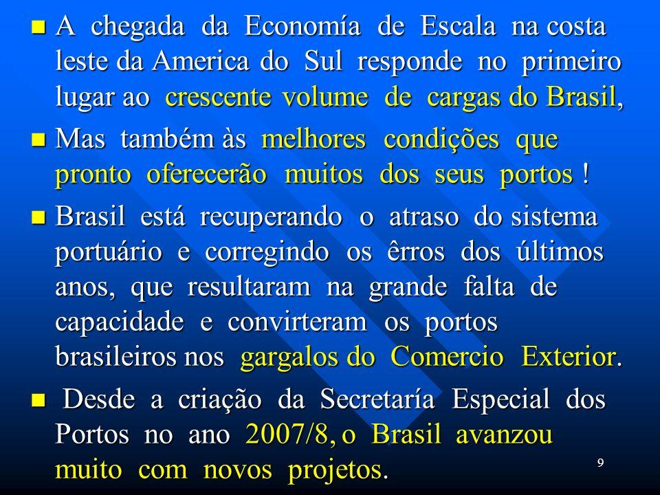 A chegada da Economía de Escala na costa leste da America do Sul responde no primeiro lugar ao crescente volume de cargas do Brasil, A chegada da Econ