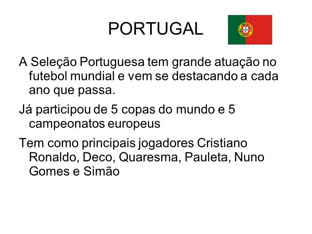 PORTUGAL A Seleção Portuguesa tem grande atuação no futebol mundial e vem se destacando a cada ano que passa. Já participou de 5 copas do mundo e 5 ca