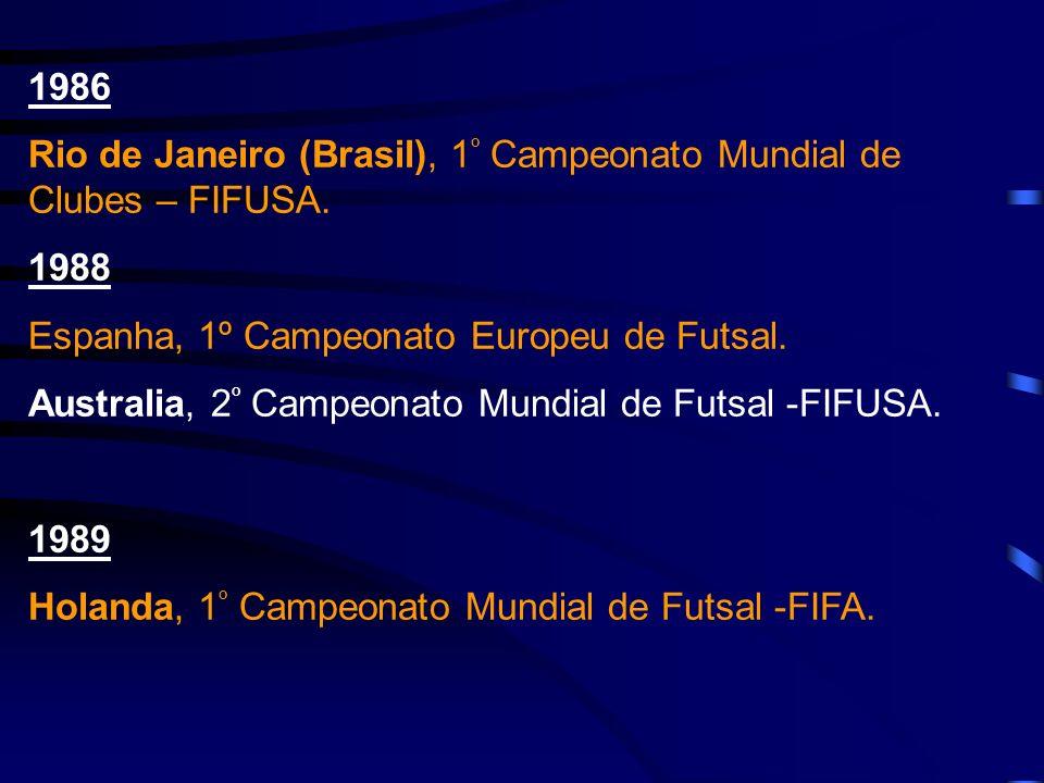 1986 Rio de Janeiro (Brasil), 1 º Campeonato Mundial de Clubes – FIFUSA. 1988 Espanha, 1º Campeonato Europeu de Futsal. Australia, 2 º Campeonato Mund