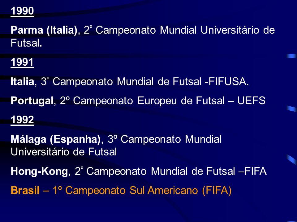 1990 Parma (Italia), 2 º Campeonato Mundial Universitário de Futsal. 1991 Italia, 3 º Campeonato Mundial de Futsal -FIFUSA. Portugal, 2º Campeonato Eu