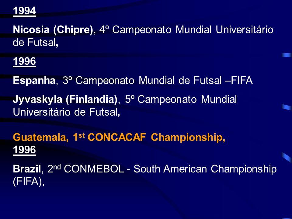 1994 Nicosia (Chipre), 4º Campeonato Mundial Universitário de Futsal, 1996 Espanha, 3º Campeonato Mundial de Futsal –FIFA Jyvaskyla (Finlandia), 5º Ca