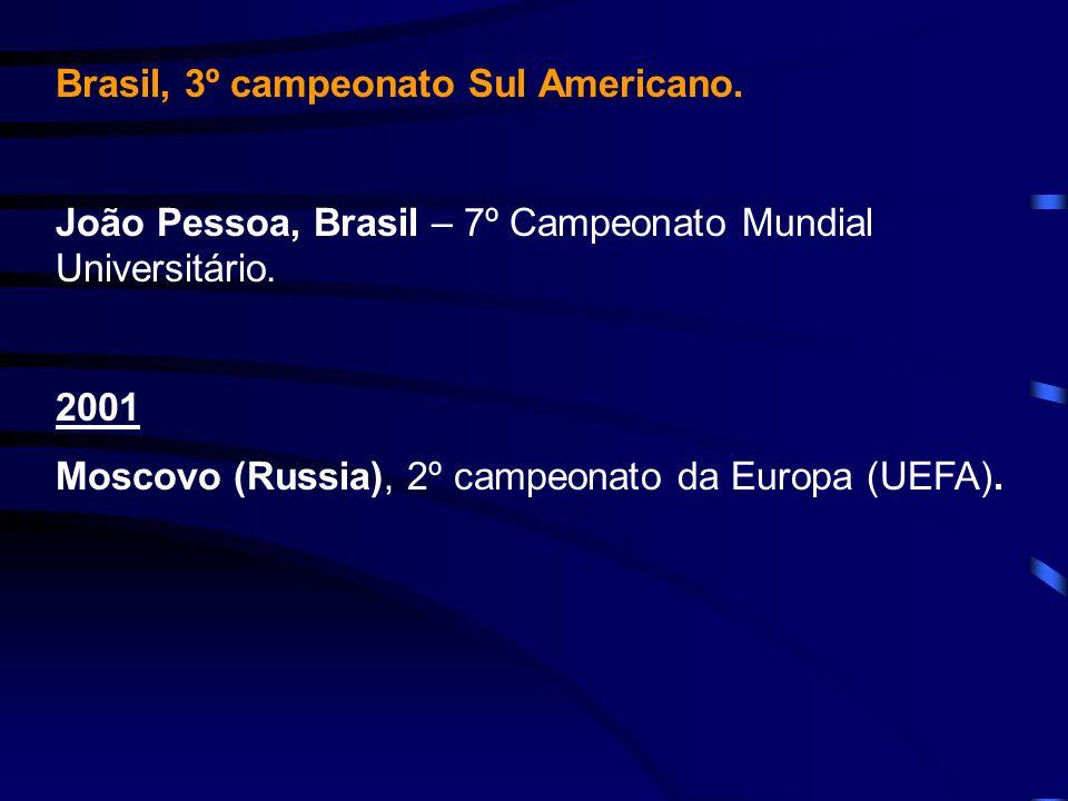 Brasil, 3º campeonato Sul Americano. João Pessoa, Brasil – 7º Campeonato Mundial Universitário. 2001 Moscovo (Russia), 2º campeonato da Europa (UEFA).