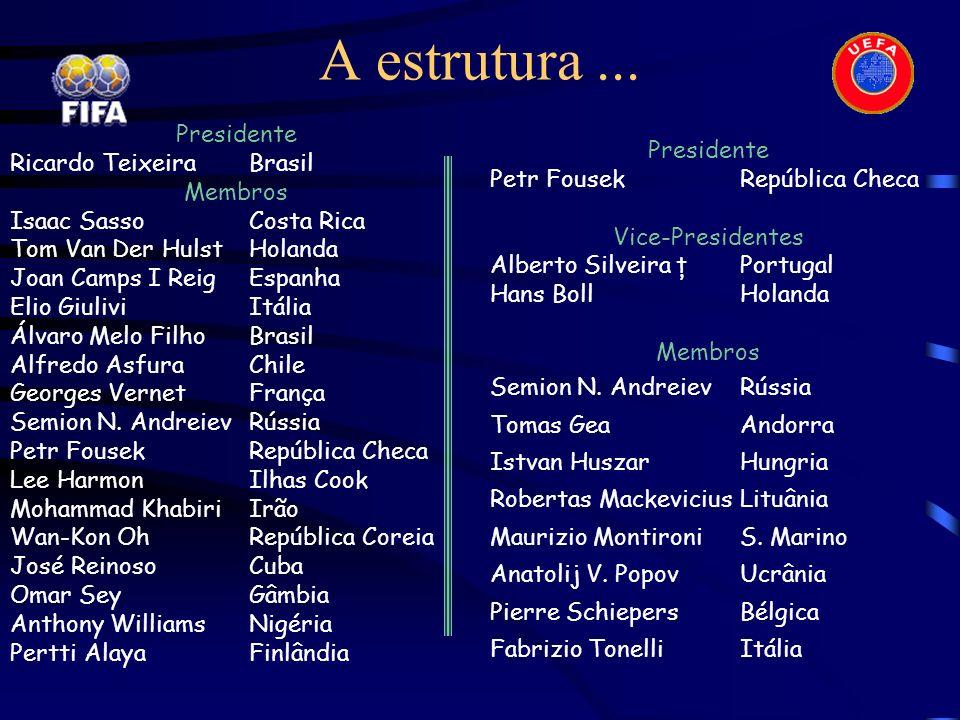 A estrutura... Presidente Ricardo Teixeira Brasil Membros Isaac Sasso Costa Rica Tom Van Der Hulst Holanda Joan Camps I ReigEspanha Elio Giulivi Itáli