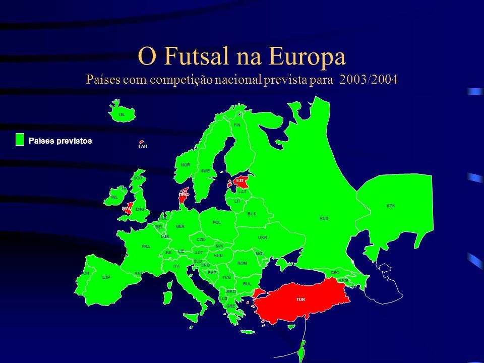 O Futsal na Europa Países com competição nacional prevista para 2003/2004 FRA AND ESP POR BEL HOL GER LUX ENG WAL IRL NIR SCO ISL SUI ITA AUT CZE SMR