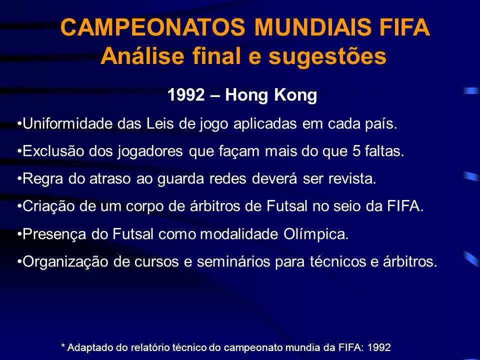 * Adaptado do relatório técnico do campeonato mundia da FIFA: 1992 1992 – Hong Kong Uniformidade das Leis de jogo aplicadas em cada país. Exclusão dos