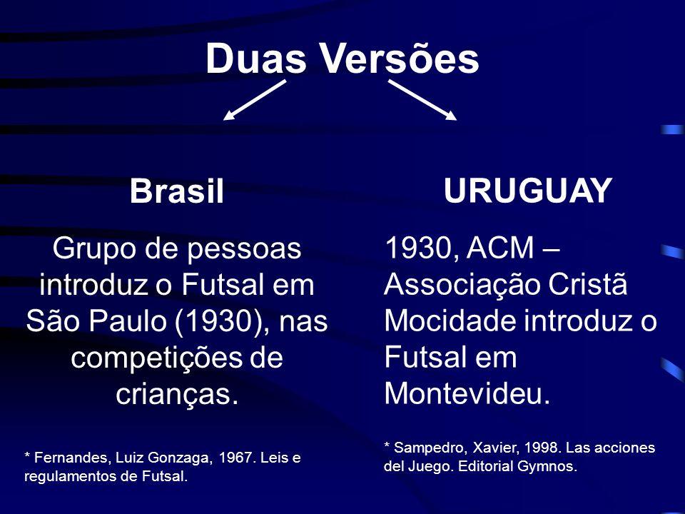 Duas Versões Brasil Grupo de pessoas introduz o Futsal em São Paulo (1930), nas competições de crianças. * Fernandes, Luiz Gonzaga, 1967. Leis e regul