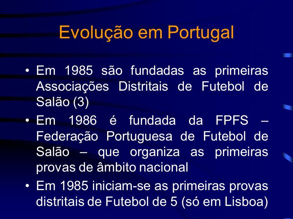 Evolução em Portugal Em 1985 são fundadas as primeiras Associações Distritais de Futebol de Salão (3) Em 1986 é fundada da FPFS – Federação Portuguesa