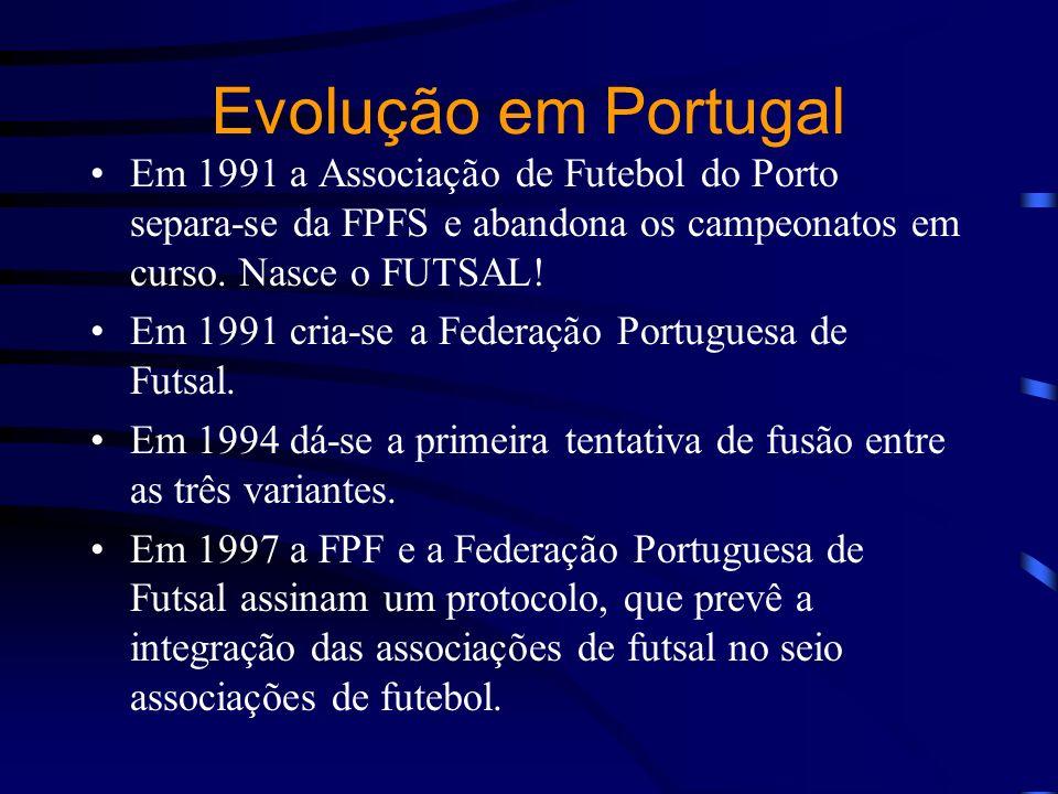 Evolução em Portugal Em 1991 a Associação de Futebol do Porto separa-se da FPFS e abandona os campeonatos em curso. Nasce o FUTSAL! Em 1991 cria-se a
