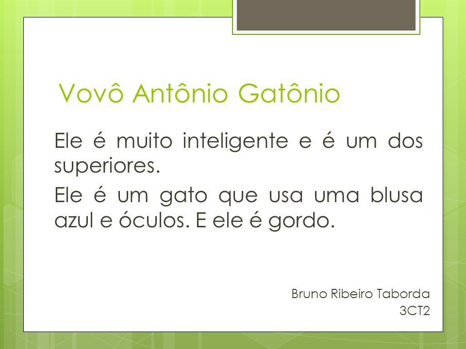 Vovô Antônio Gatônio Ele é muito inteligente e é um dos superiores. Ele é um gato que usa uma blusa azul e óculos. E ele é gordo. Bruno Ribeiro Tabord