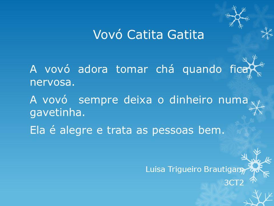 Vovó Catita Gatita A vovó adora tomar chá quando fica nervosa. A vovó sempre deixa o dinheiro numa gavetinha. Ela é alegre e trata as pessoas bem. Lui