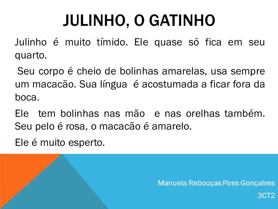 JULINHO, O GATINHO Julinho é muito tímido. Ele quase só fica em seu quarto. Seu corpo é cheio de bolinhas amarelas, usa sempre um macacão. Sua língua