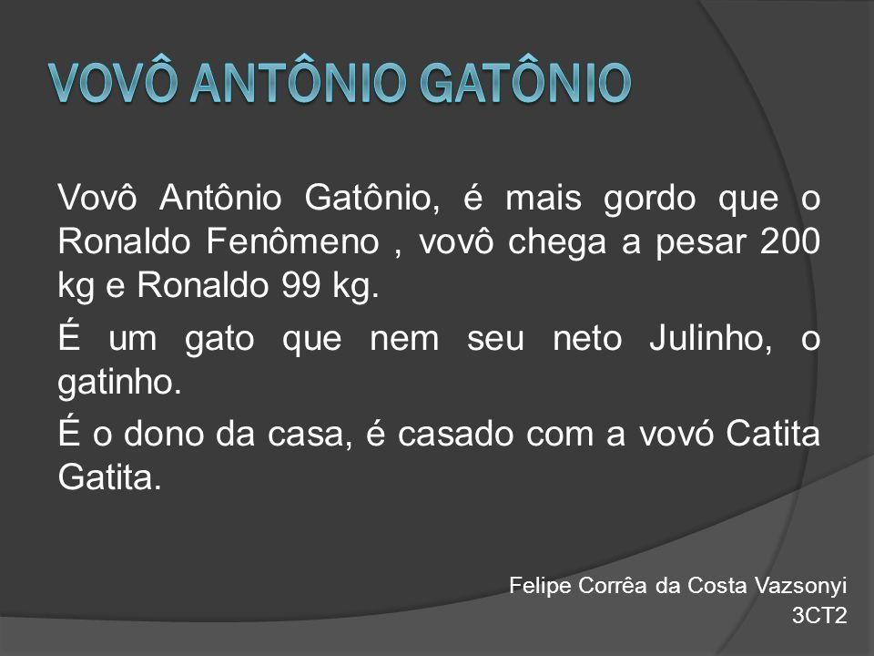 Vovô Antônio Gatônio, é mais gordo que o Ronaldo Fenômeno, vovô chega a pesar 200 kg e Ronaldo 99 kg. É um gato que nem seu neto Julinho, o gatinho. É