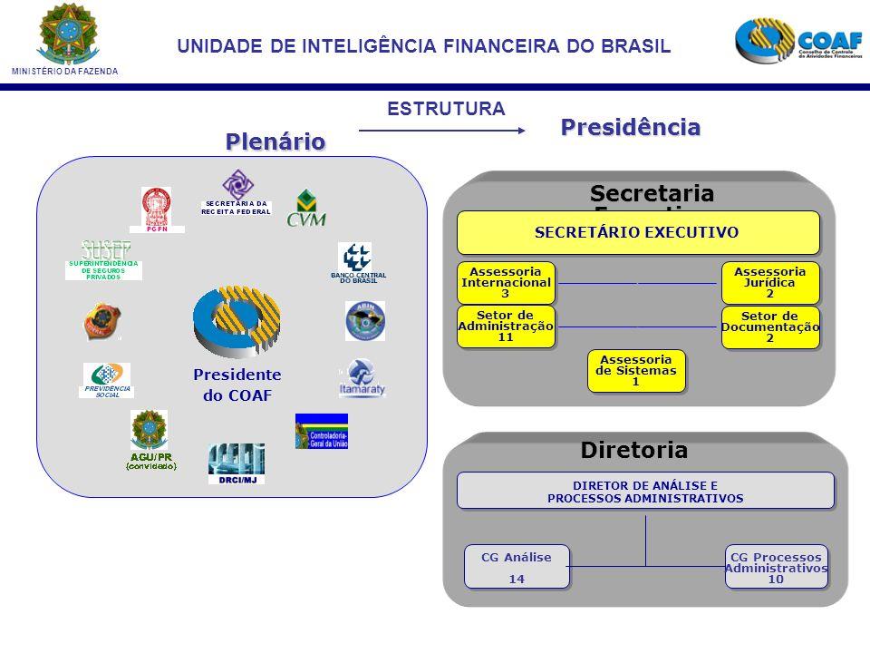 MINISTÉRIO DA FAZENDA UNIDADE DE INTELIGÊNCIA FINANCEIRA DO BRASIL Presidência Plenário Secretaria Executiva Diretoria Assessoria Jurídica 2 Assessoria Jurídica 2 Assessoria Internacional 3 Assessoria Internacional 3 Setor de Documentação 2 Setor de Documentação 2 Assessoria de Sistemas 1 Assessoria de Sistemas 1 SECRETÁRIO EXECUTIVO Setor de Administração 11 Setor de Administração 11 CG Processos Administrativos 10 CG Processos Administrativos 10 DIRETOR DE ANÁLISE E PROCESSOS ADMINISTRATIVOS DIRETOR DE ANÁLISE E PROCESSOS ADMINISTRATIVOS CG Análise 14 CG Análise 14 Presidente do COAF ESTRUTURA