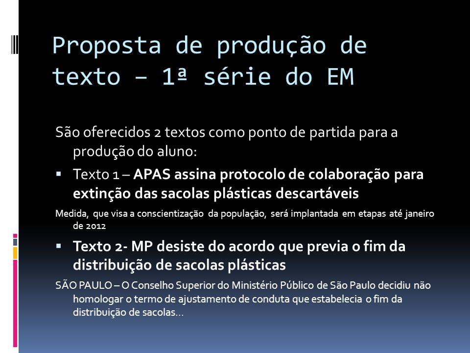 Proposta de produção de texto – 1ª série do EM São oferecidos 2 textos como ponto de partida para a produção do aluno: Texto 1 – APAS assina protocolo