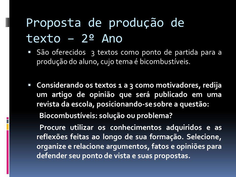 Proposta de produção de texto – 2º Ano São oferecidos 3 textos como ponto de partida para a produção do aluno, cujo tema é bicombustíveis.