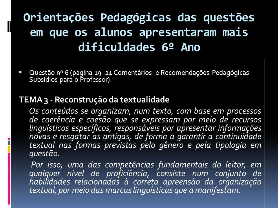 Orientações Pedagógicas das questões em que os alunos apresentaram mais dificuldades 6º Ano Questão nº 6 (página 19 -21 Comentários e Recomendações Pedagógicas Subsídios para o Professor).