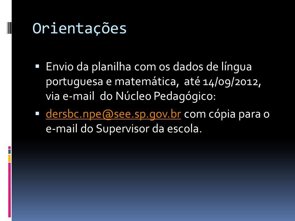 Orientações Envio da planilha com os dados de língua portuguesa e matemática, até 14/09/2012, via e-mail do Núcleo Pedagógico: dersbc.npe@see.sp.gov.b