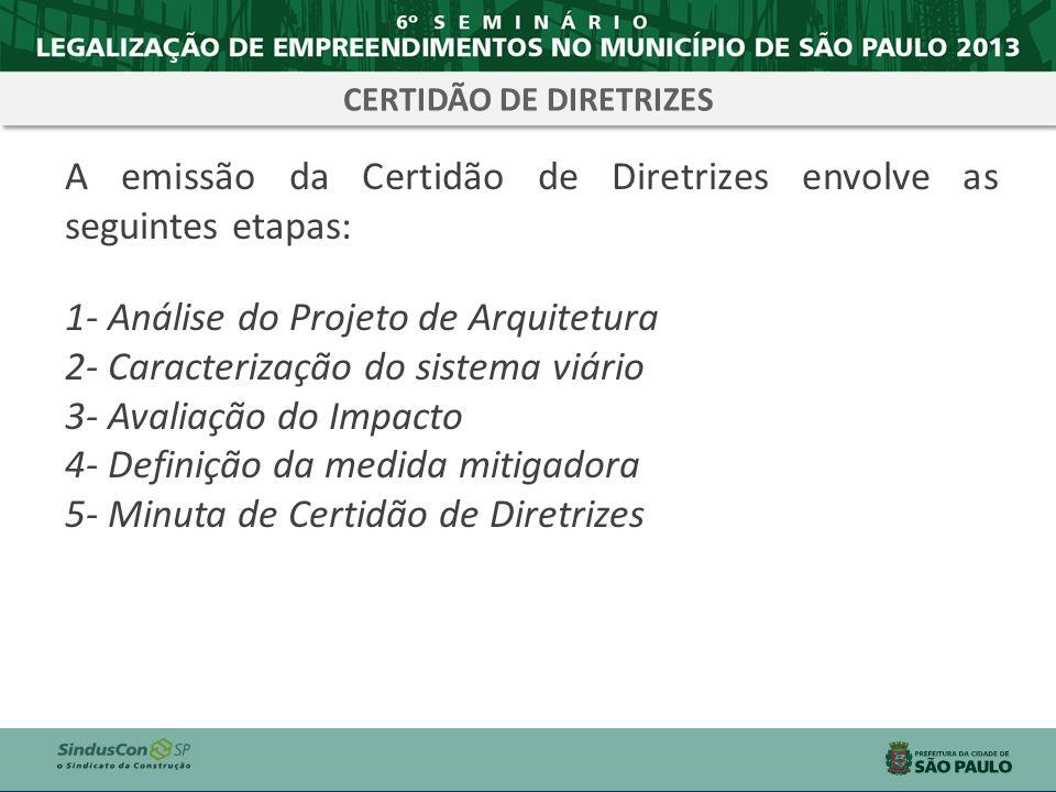A emissão da Certidão de Diretrizes envolve as seguintes etapas: 1- Análise do Projeto de Arquitetura 2- Caracterização do sistema viário 3- Avaliação