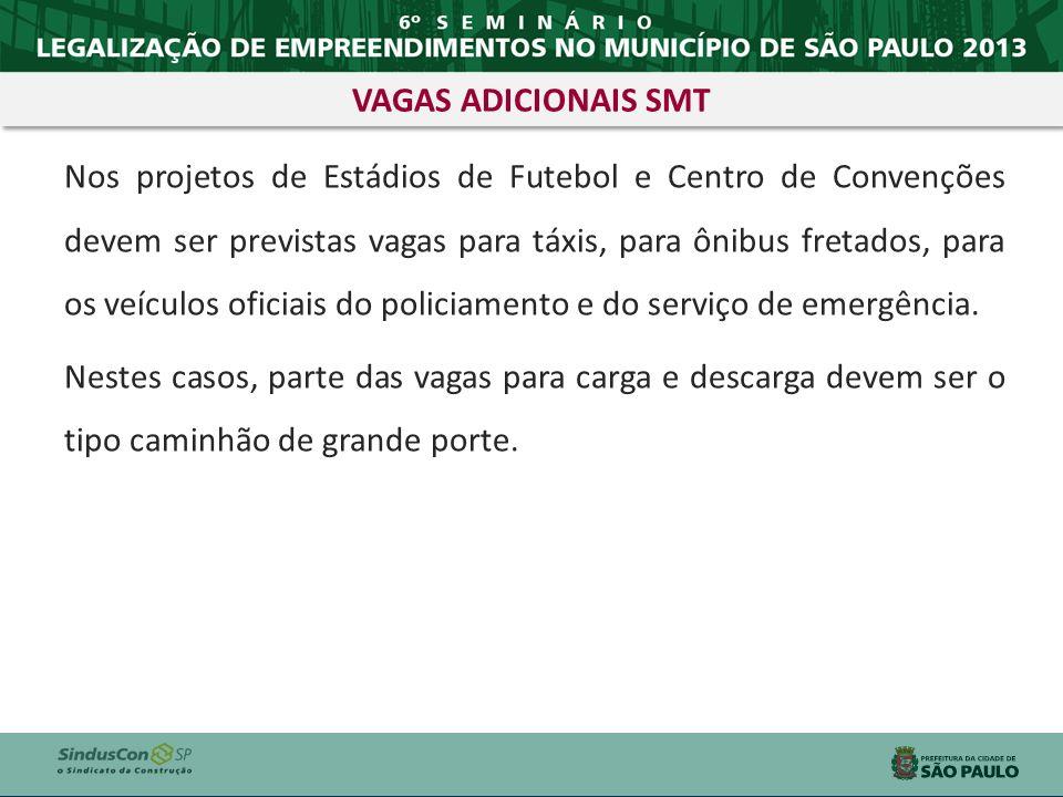 Nos projetos de Estádios de Futebol e Centro de Convenções devem ser previstas vagas para táxis, para ônibus fretados, para os veículos oficiais do po