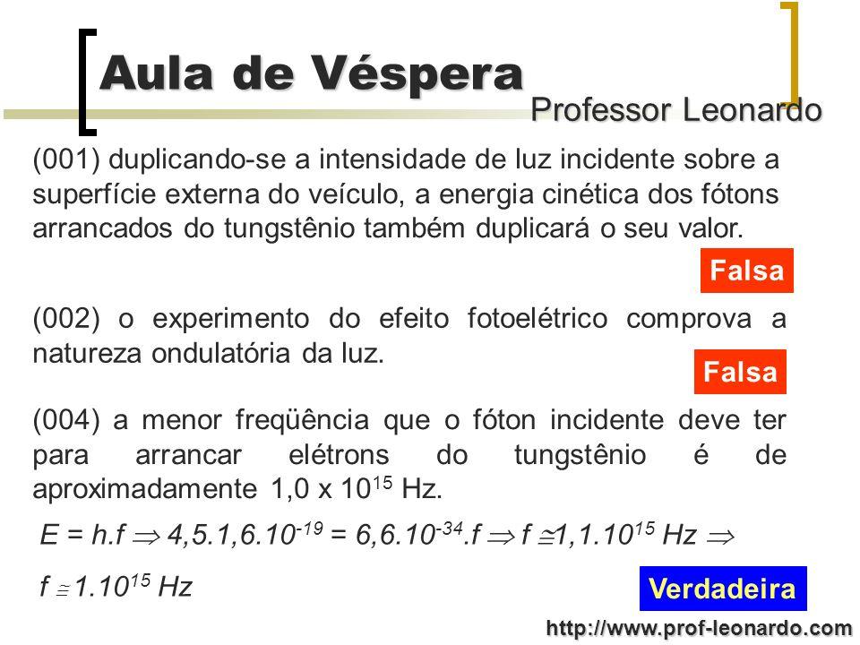 Professor Leonardo Aula de Véspera http://www.prof-leonardo.com (001) duplicando-se a intensidade de luz incidente sobre a superfície externa do veícu