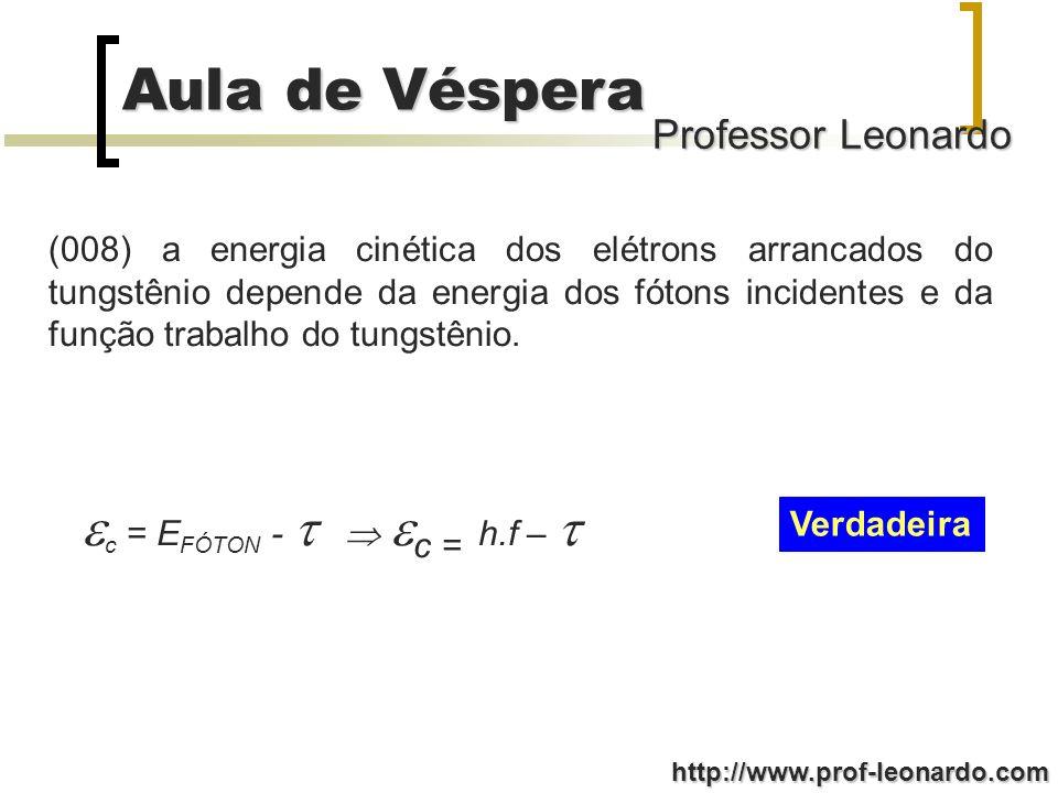 Professor Leonardo Aula de Véspera http://www.prof-leonardo.com (008) a energia cinética dos elétrons arrancados do tungstênio depende da energia dos