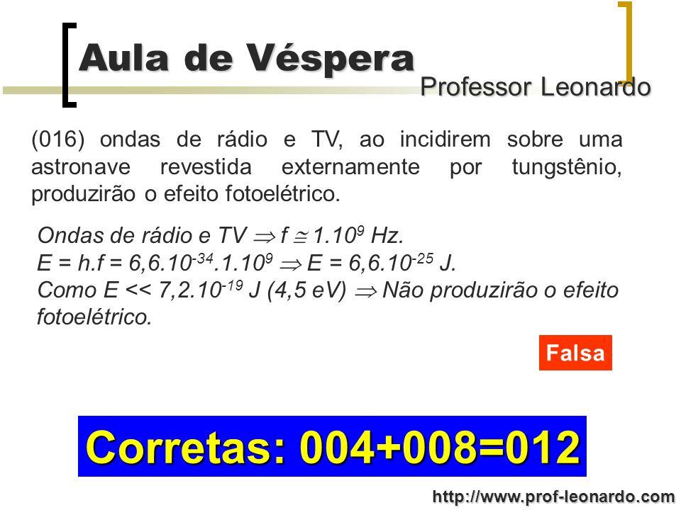 Professor Leonardo Aula de Véspera http://www.prof-leonardo.com (016) ondas de rádio e TV, ao incidirem sobre uma astronave revestida externamente por