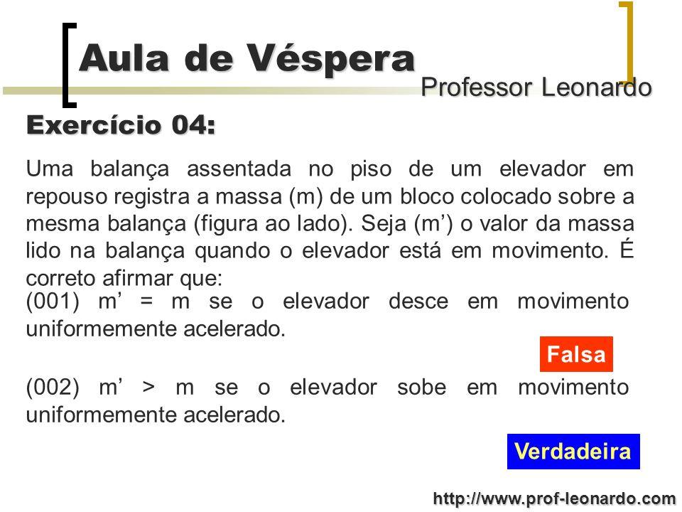 Professor Leonardo Aula de Véspera http://www.prof-leonardo.com Uma balança assentada no piso de um elevador em repouso registra a massa (m) de um blo