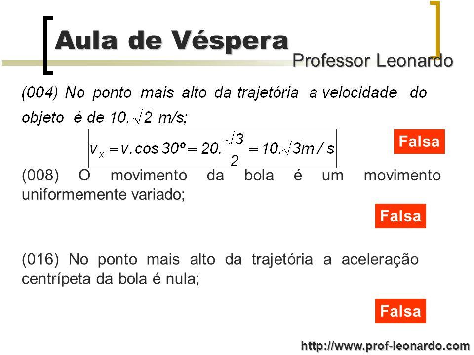 Professor Leonardo Aula de Véspera http://www.prof-leonardo.com Falsa (008) O movimento da bola é um movimento uniformemente variado; Falsa (016) No p