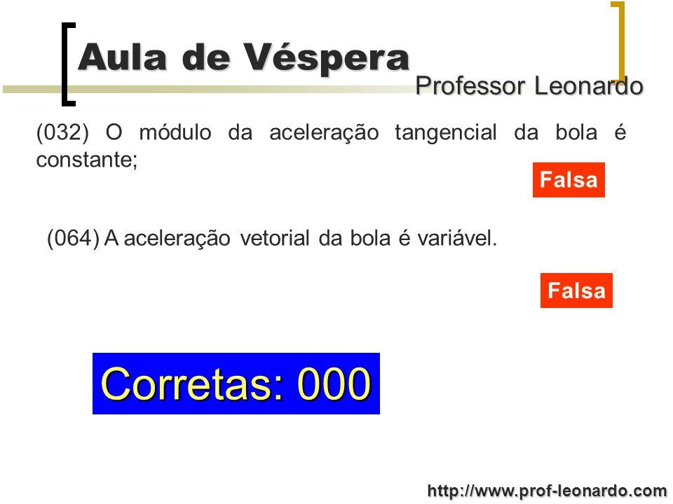 Professor Leonardo Aula de Véspera http://www.prof-leonardo.com Corretas: 000 (032) O módulo da aceleração tangencial da bola é constante; Falsa (064)