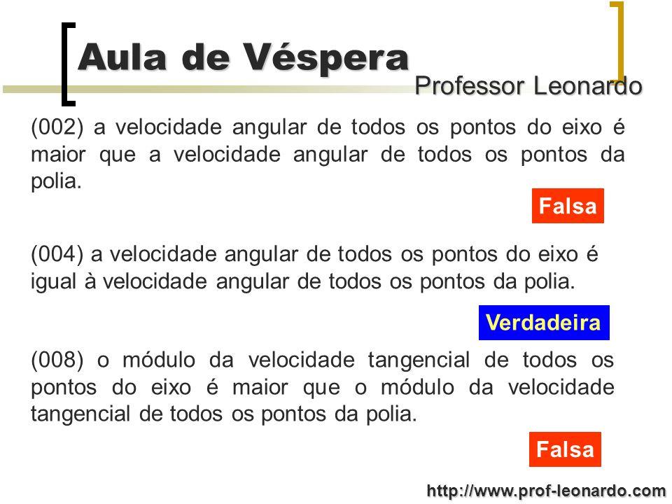 Professor Leonardo Aula de Véspera http://www.prof-leonardo.com (002) a velocidade angular de todos os pontos do eixo é maior que a velocidade angular