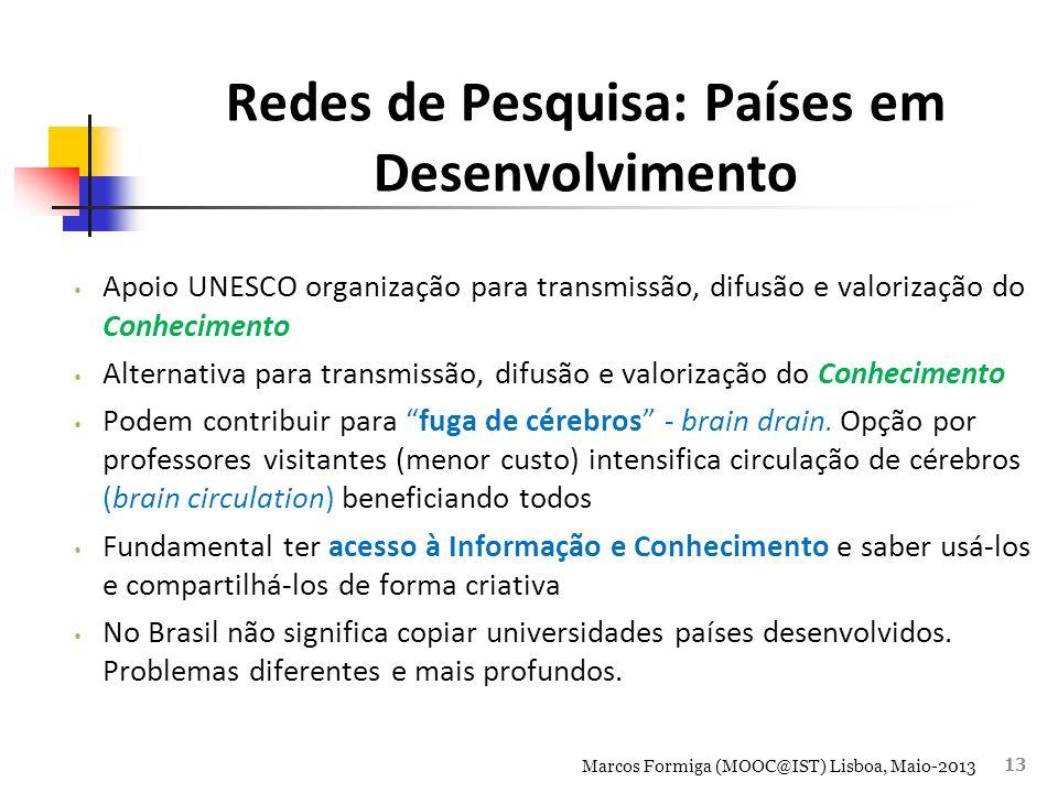 Redes de Pesquisa: Países em Desenvolvimento Apoio UNESCO organização para transmissão, difusão e valorização do Conhecimento Alternativa para transmissão, difusão e valorização do Conhecimento Podem contribuir para fuga de cérebros - brain drain.